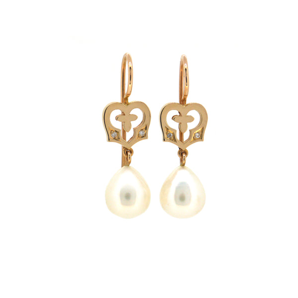 Angel Heart Earrings with Freshwater Pearls and white diamonds