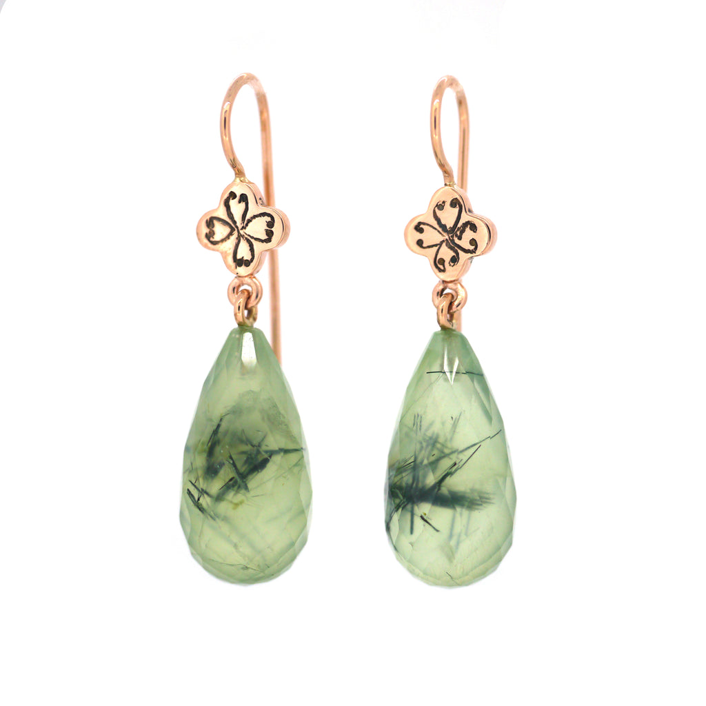 Quatrefoil Earrings with Tourmalined Green Quartz Briolettes (medium)