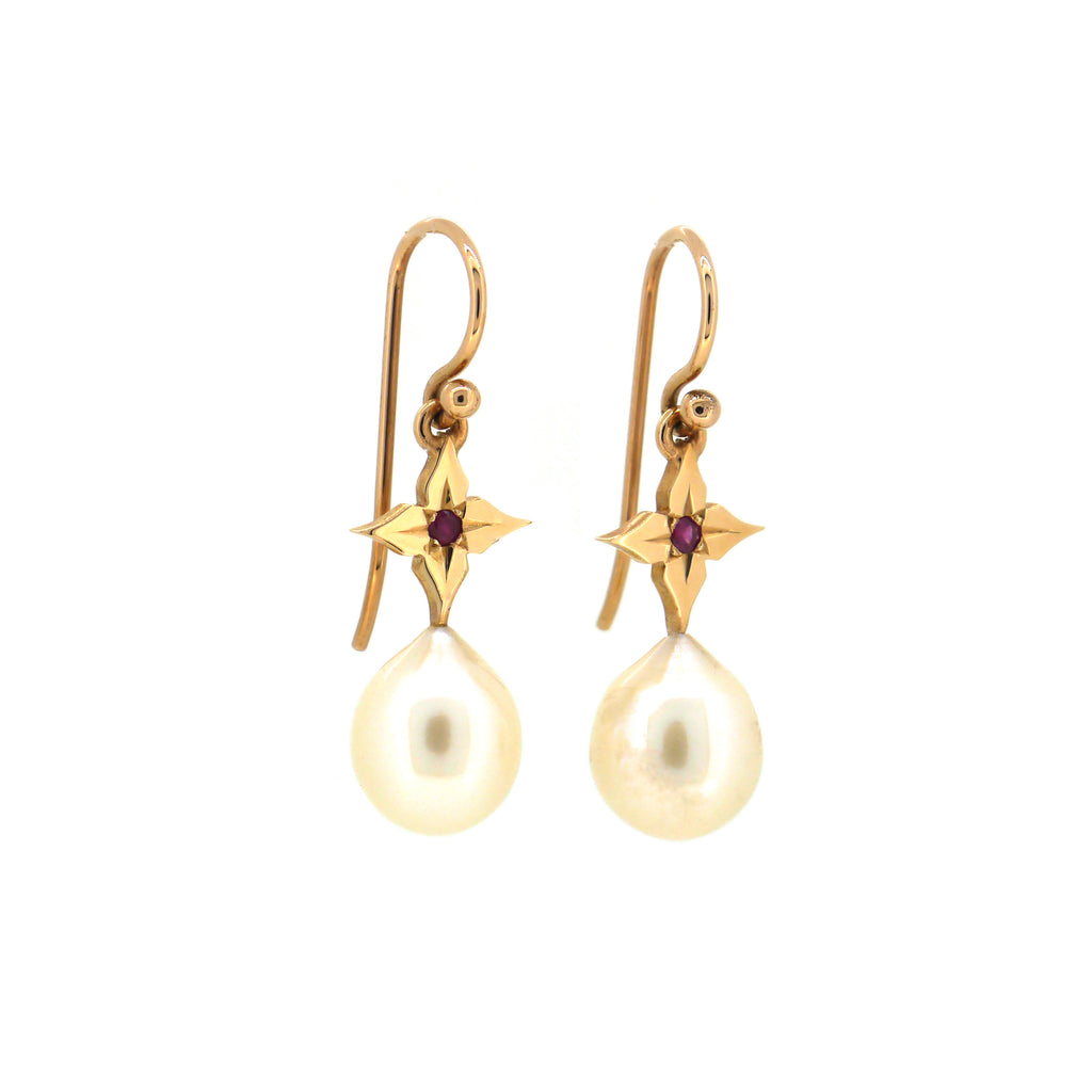North Star Earrings with Pearls and Rubies