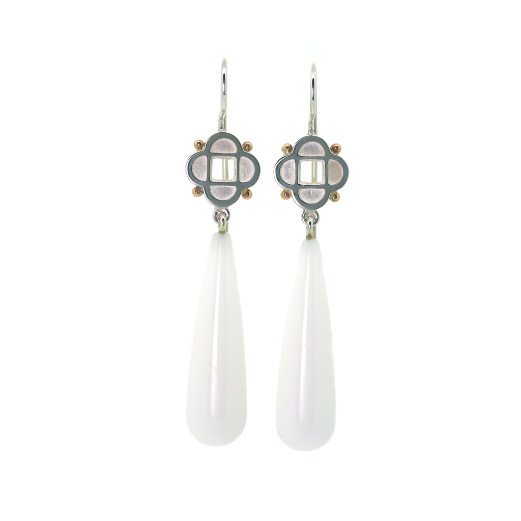 Quatrefoil Earrings with White Onyx Briolettes