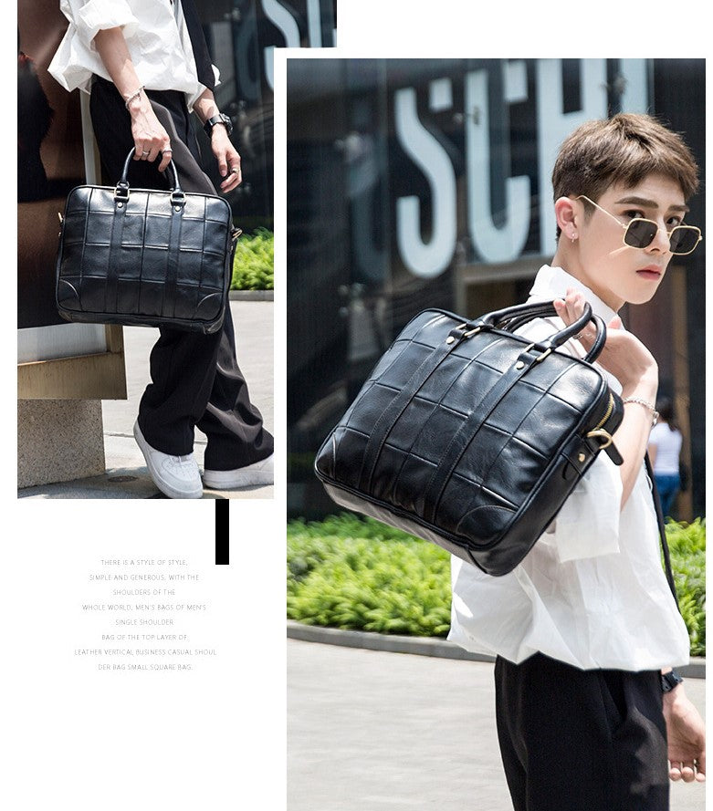 Pertinacious Squared Leather Briefcase