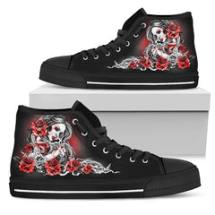 Skull Girl High Top Shoes