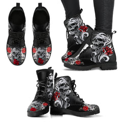 Roses Skull Custom Leather Boots