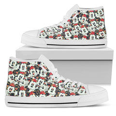 Floral Mickey Pattern High Top Shoes