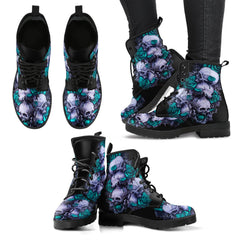Green Skull Leather Boots