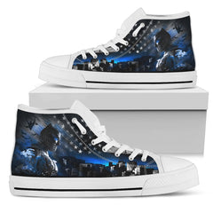 Express Delivery - Batman Thin Blue Line - White High Top Shoes