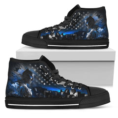 Express Delivery - Batman Thin Blue Line - Black High Top Shoes