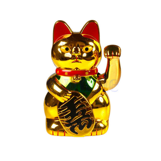Lucky Wealth Waving Hand Cat Maneki Golden Feng Shui
