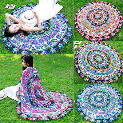 4 Colors Beach Print Bohemian Round Hippie Tapestry Throw Indian Mandala