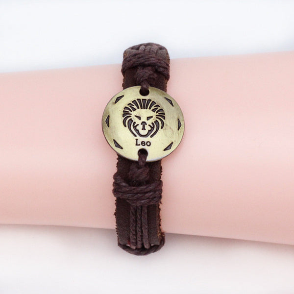 Fashion 12 Zodiac Signs Leather Bracelet Constellations charm  Bracelets Adjustable Bracelet Jewelry
