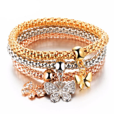 3 PCS/Set Crystal Bracelet & Bangle Multiple Shape Elastic Heart Bracelets For Women