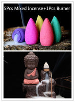 The Little Monk Small Buddha Backflow Incense Burner + 5Pcs Incense Cones.