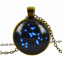 Beautiflu zodiac jewelry necklace antique glass cabochon zodiac pendant charm  Bronze chain necklace choker necklace jewelry