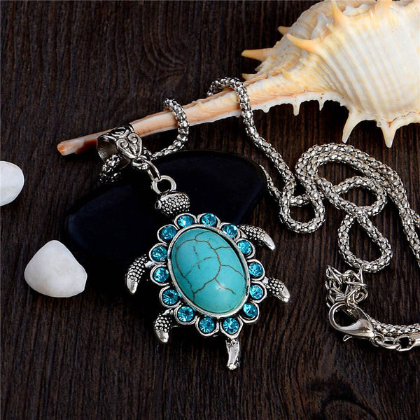 Natural Rhinestone Stone Tortoise Turtle Shaped Pendants Retro.