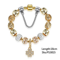 Luxury Gold-Color Lucky Clover Charm Bracelet Crystal Beads Fashion Jewelry