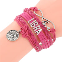 SUMMER! Infinity Love Sign Bracelet 12 constellations Bracelet Punk Leather Zodiac Bracelet Charm Jewelry