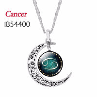 Vintage Jewelry Silver Color with Zodiac Cabochon Choker Long Necklace Gift.