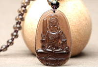 High Quality Unique Natural Ice Black Obsidian Carved Buddha Lucky Amulet Pendant Necklace For Women Men pendants Jadee Jewelry