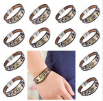 Hot Selling Europe Fashion 12 zodiac signs Bracelet With Stainless Steel Clasp Leather Bracelet for Men, Women