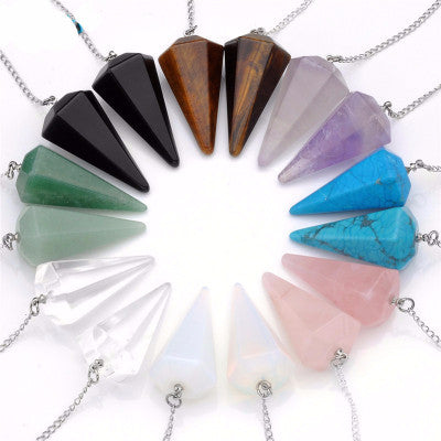 2017 Hot Sale Natural Stone Crystal Faceted Wicca Pendulum Pyramid Healing Reiki Chakra Dowsing Pendant For Men Women 1pc