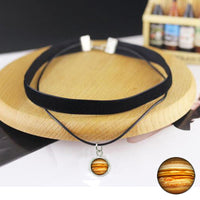 NEW 2017! Layered choker necklace Solar System Necklace, Planet  Moon  Galaxy Jewelry, Universe necklace velvet choker with pendant
