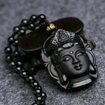 Natural Obsidian Pendant Black Guanyin Head Pendants Transhipped Buddha Head
