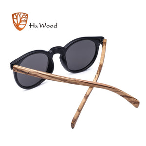 HU WOOD Black Oval Frame Sunglassess