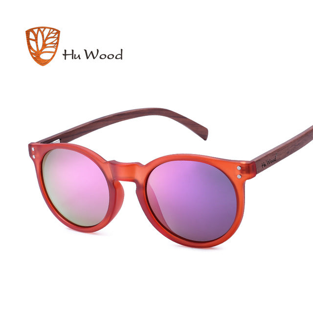 HU WOOD Red Oval Frame Sunglassess