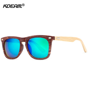 KDEAM High-set Wood Sunglasses W/ Case