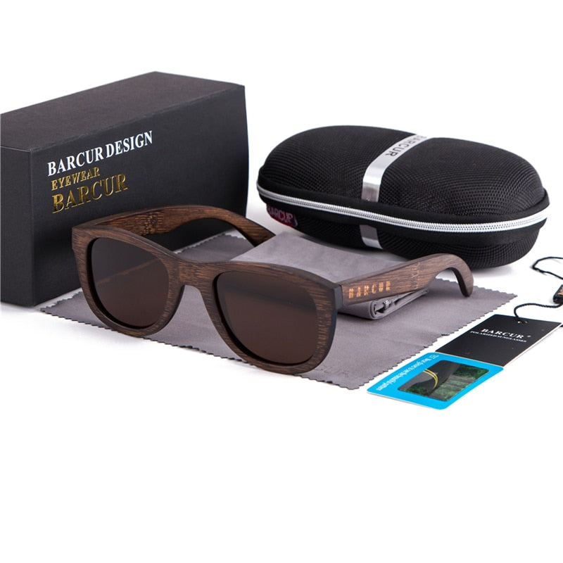 BARCUR Brown Bamboo Sunglasses w/ Case
