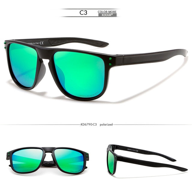 KDEAM Feather Sport Series(Black & Teal) W/ Impact Coated Lenses & Hard Case