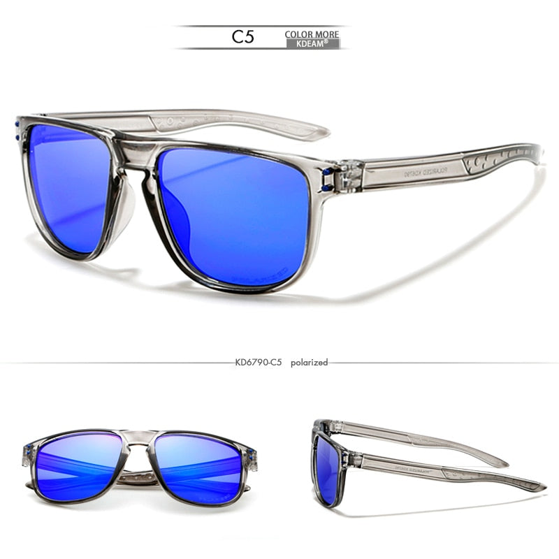 KDEAM Feather Sport Series(Clear & Blue) W/ Impact Coated Lenses & Hard Case