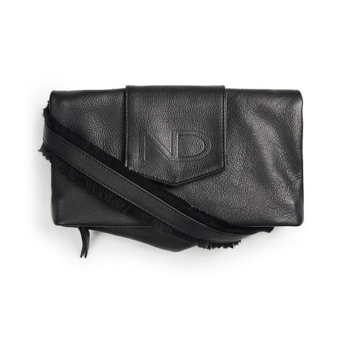 ND folded bag - m. 90 cm læderrem frynser