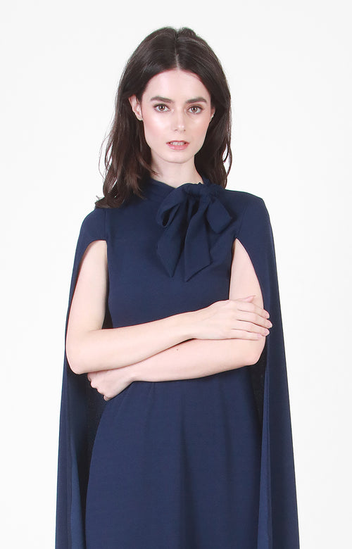 Sasha Cape Gown In Navy Blue