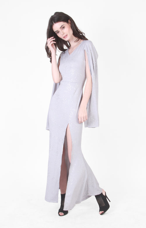 Megan Cape Gown in Silver