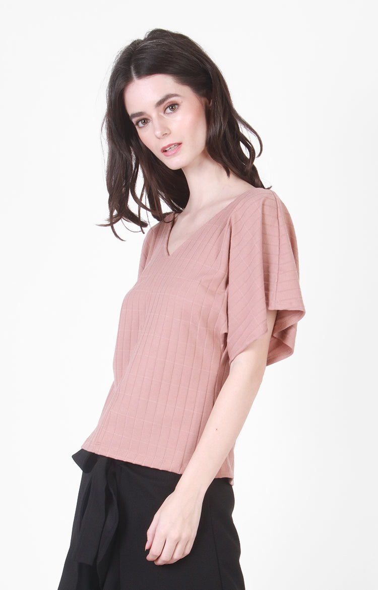 Tamara V-Neck Top in Nude