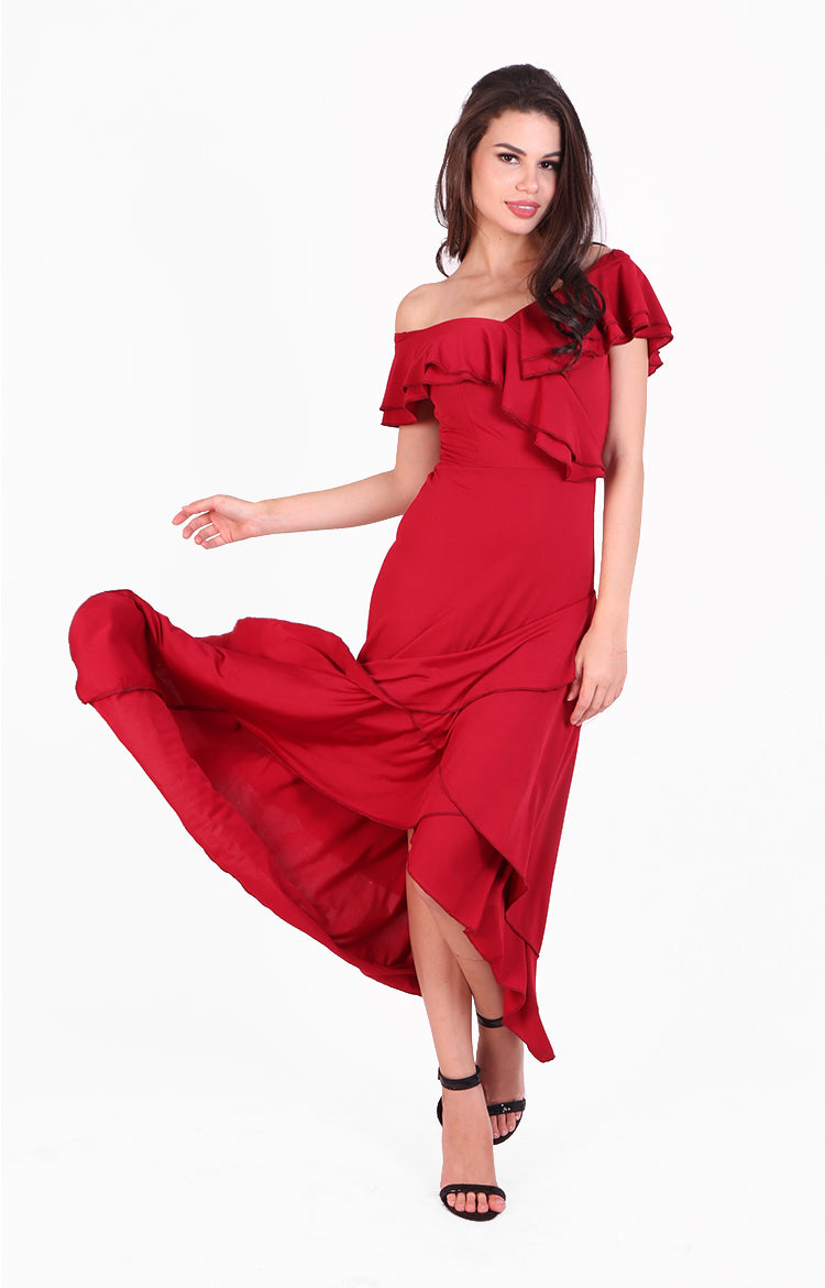 Tango Maxi Ruffle Dress in Red