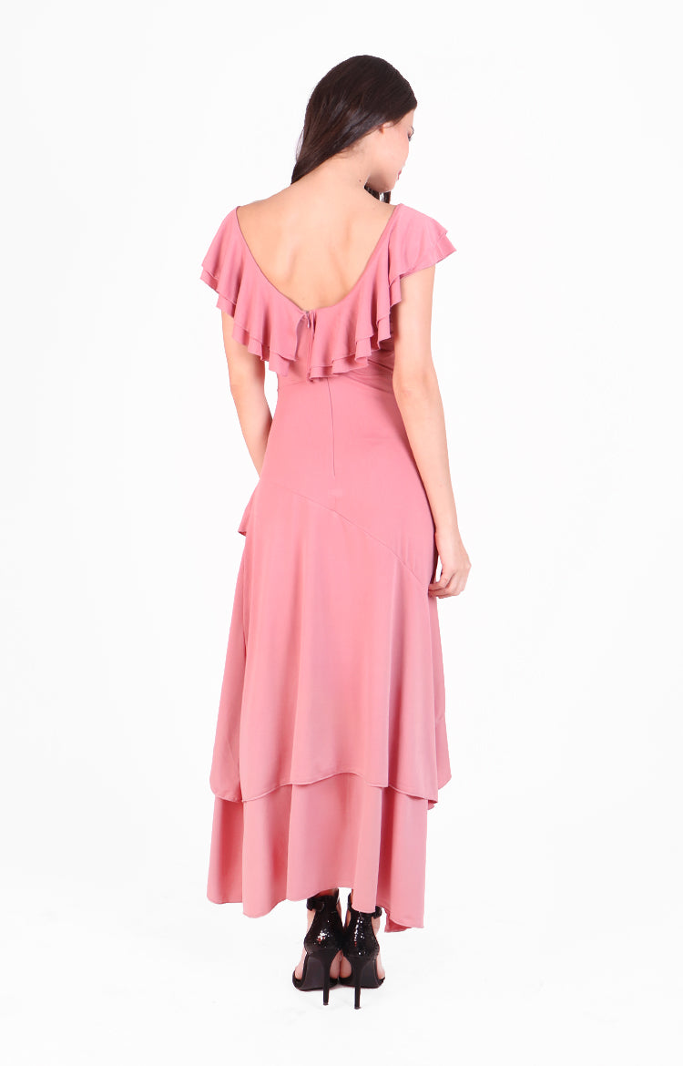 Tango Maxi Ruffle Dress in Rose Pink