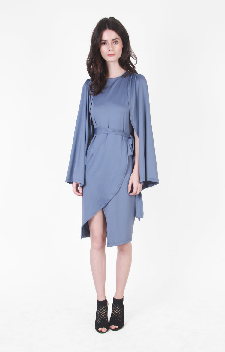 Melisandre Cape Dress In Blue Grey