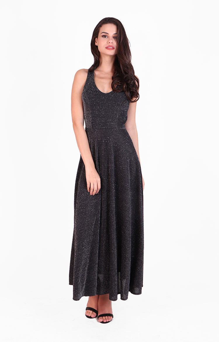 Dina Maxi Dress in Sparkling Black