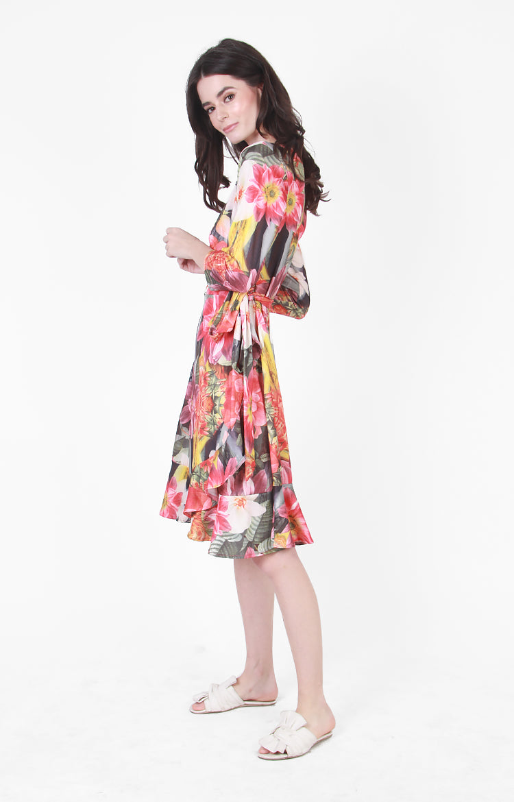 Regine Wrap Dress In Multi Floral