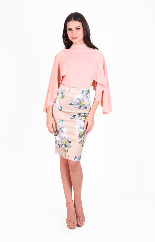 Mischa Cape Top and Skirt Set