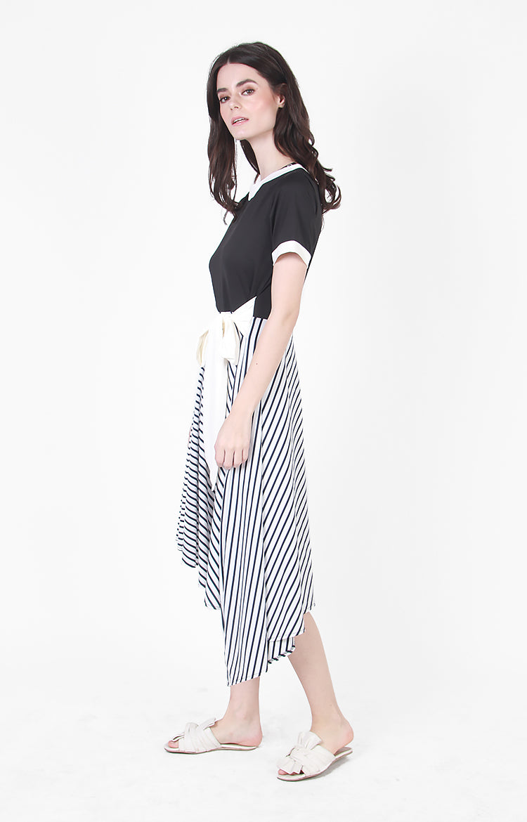 Natalie Dress in Black and Stripe Combo