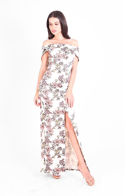 Alegra Off-Shoulder Gown in Floral Print