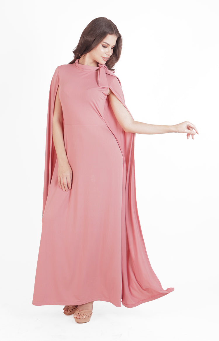 Sasha Cape Gown in Rose Pink