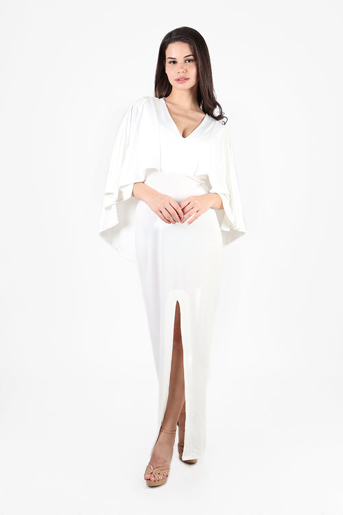 Rania Cape Maxi Dress in Ivory