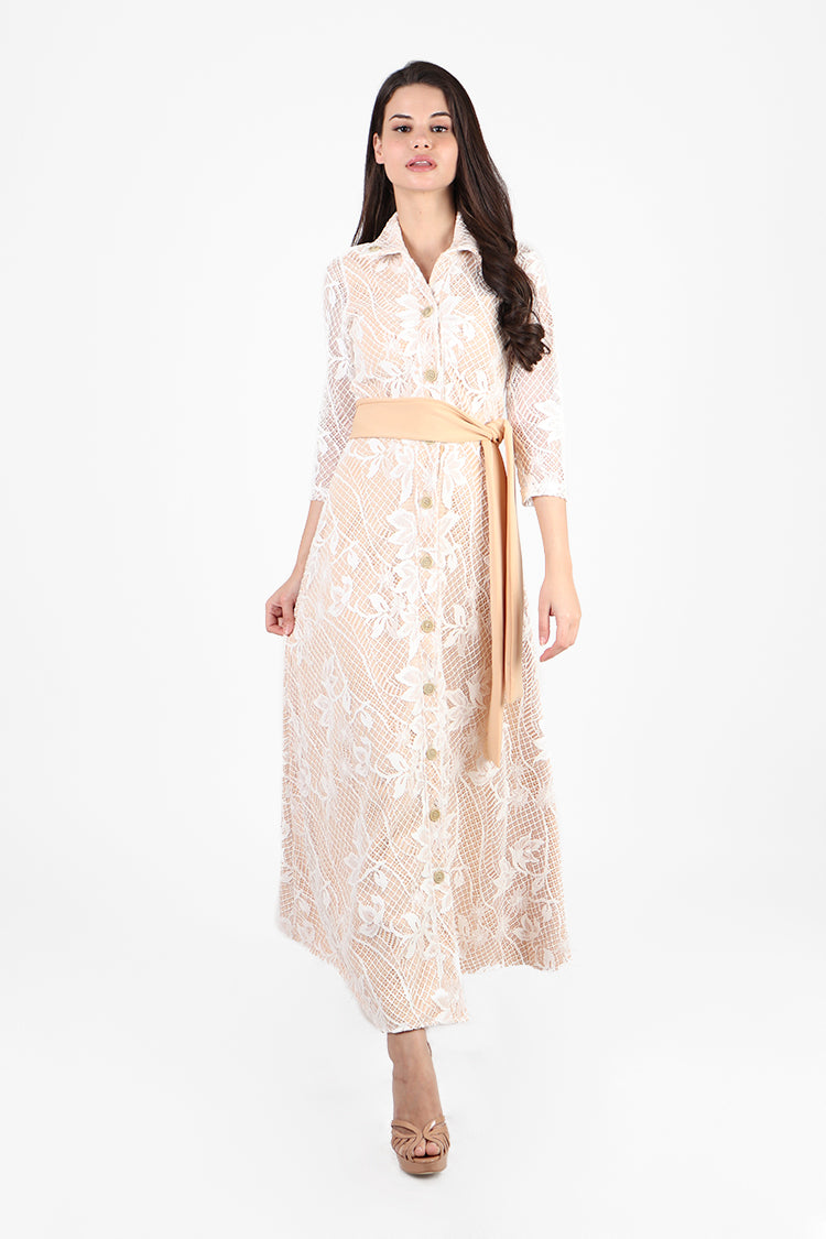 Minka Maxi Formal Dress in Nude/ Lace