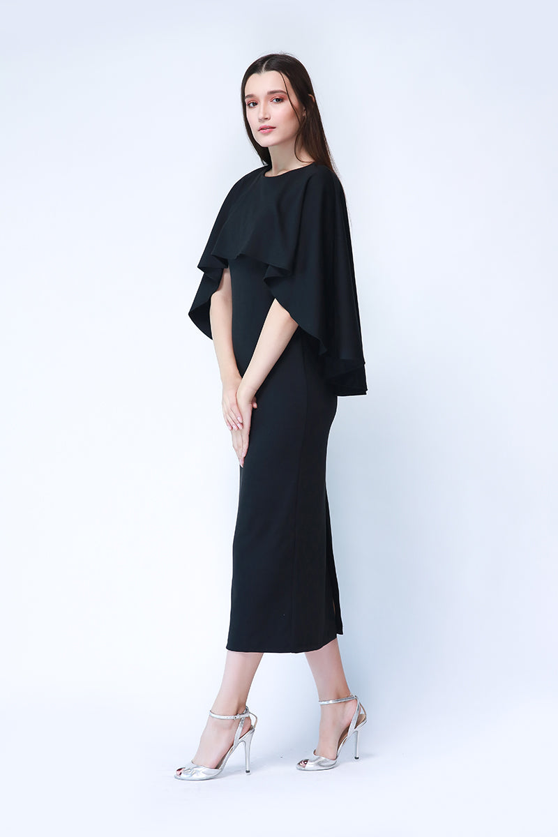 Athens Formal Cape Gown In Black