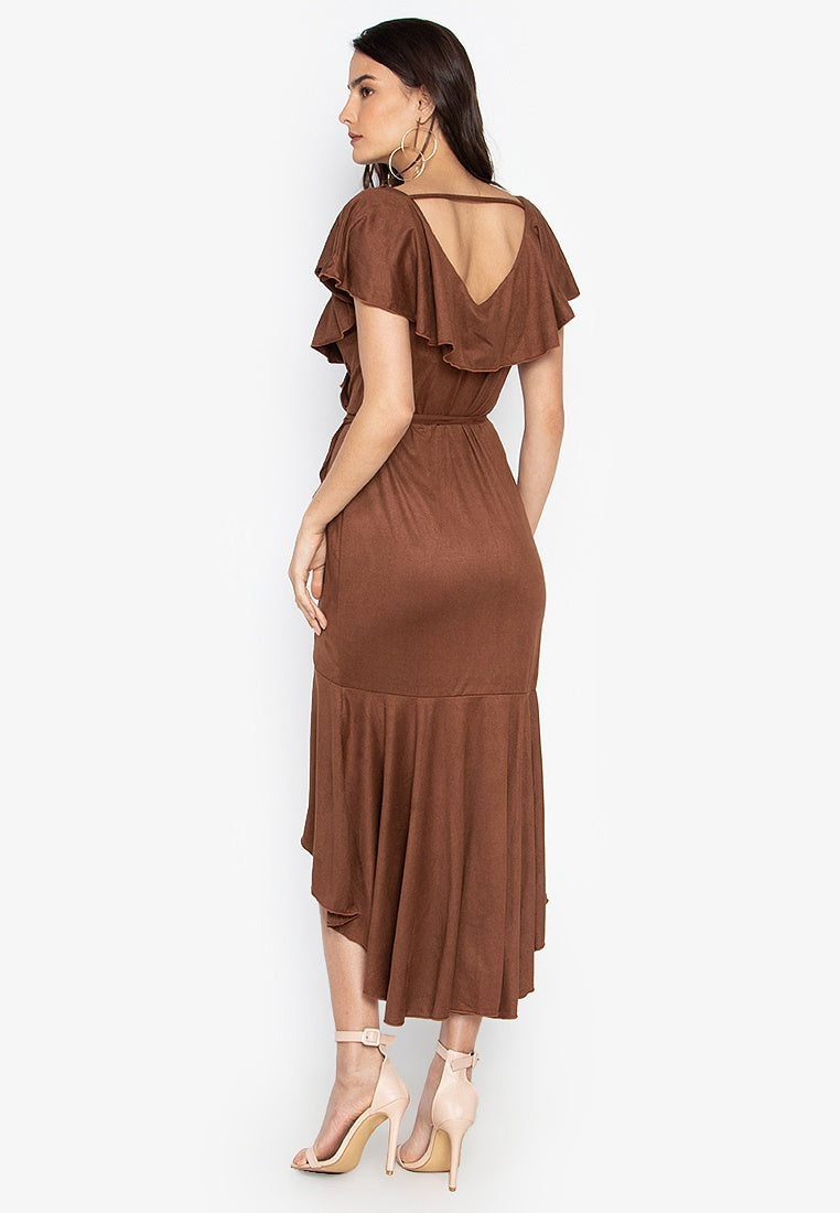Arya Ruffle Wrap Maxi Dress in Brown