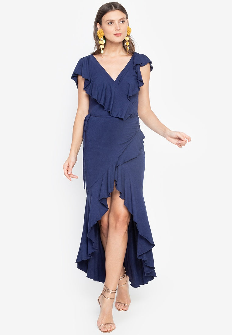 Arya V-Neck Ruffle Wrap Maxi Dress in Navy Blue